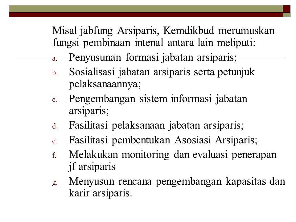 Misal jabfung Arsiparis, Kemdikbud merumuskan fungsi pembinaan intenal antara lain meliputi: