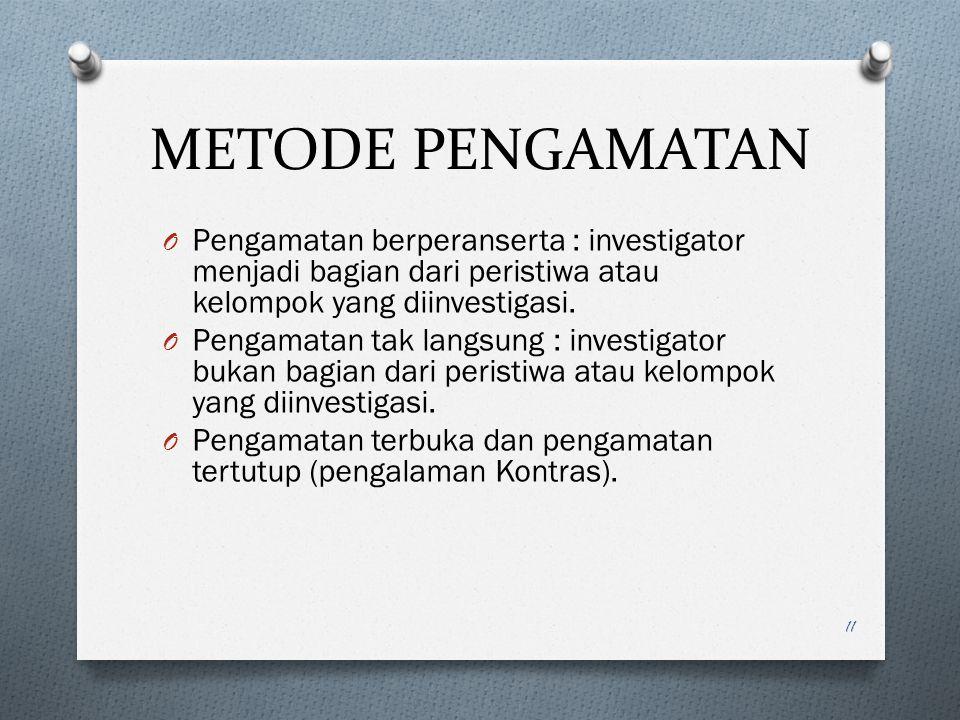 METODE PENGAMATAN Pengamatan berperanserta : investigator menjadi bagian dari peristiwa atau kelompok yang diinvestigasi.