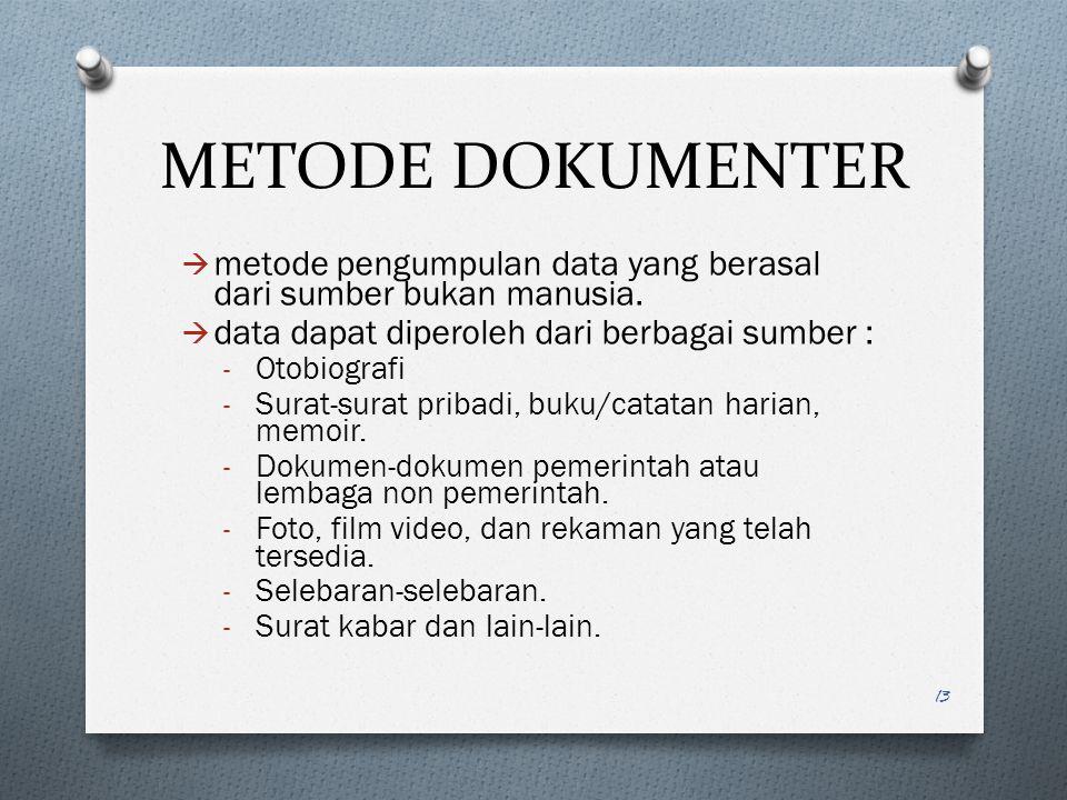 METODE DOKUMENTER metode pengumpulan data yang berasal dari sumber bukan manusia. data dapat diperoleh dari berbagai sumber :