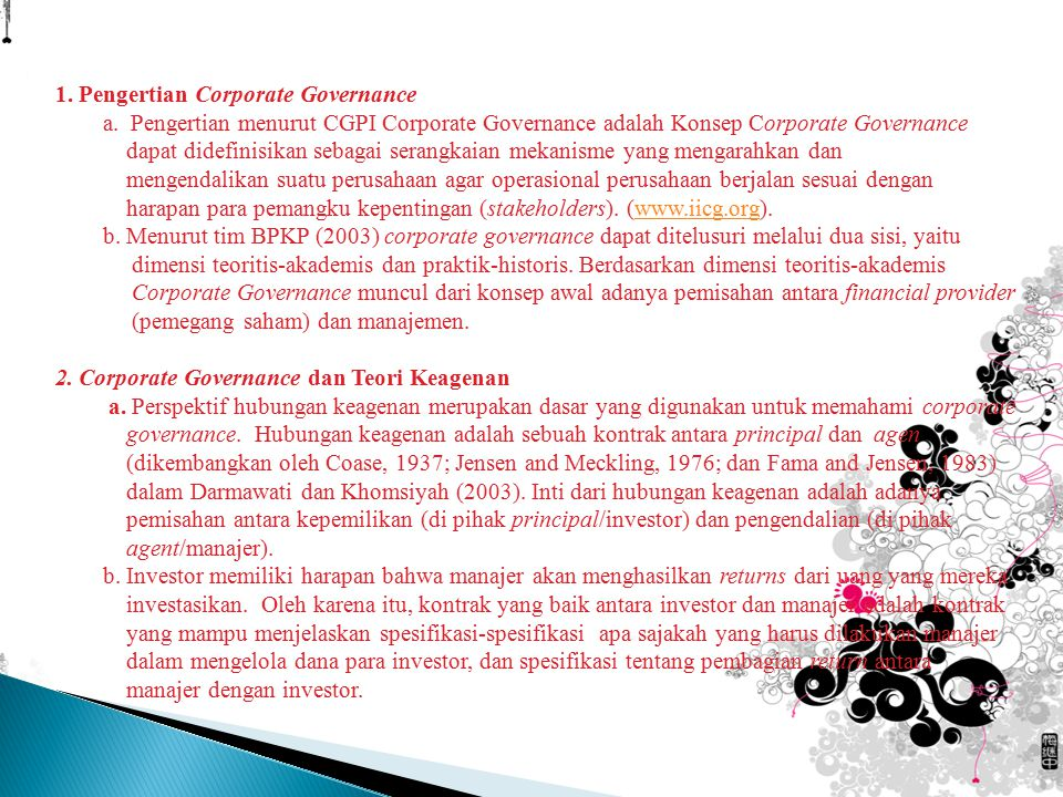 1. Pengertian Corporate Governance