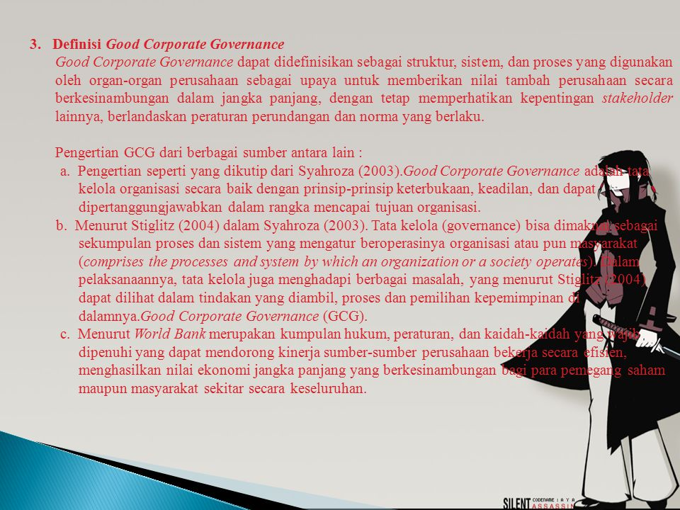 3. Definisi Good Corporate Governance