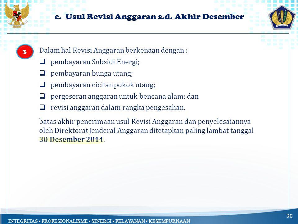 c. Usul Revisi Anggaran s.d. Akhir Desember