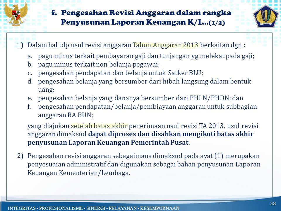 f. Pengesahan Revisi Anggaran dalam rangka Penyusunan Laporan Keuangan K/L…(1/2)