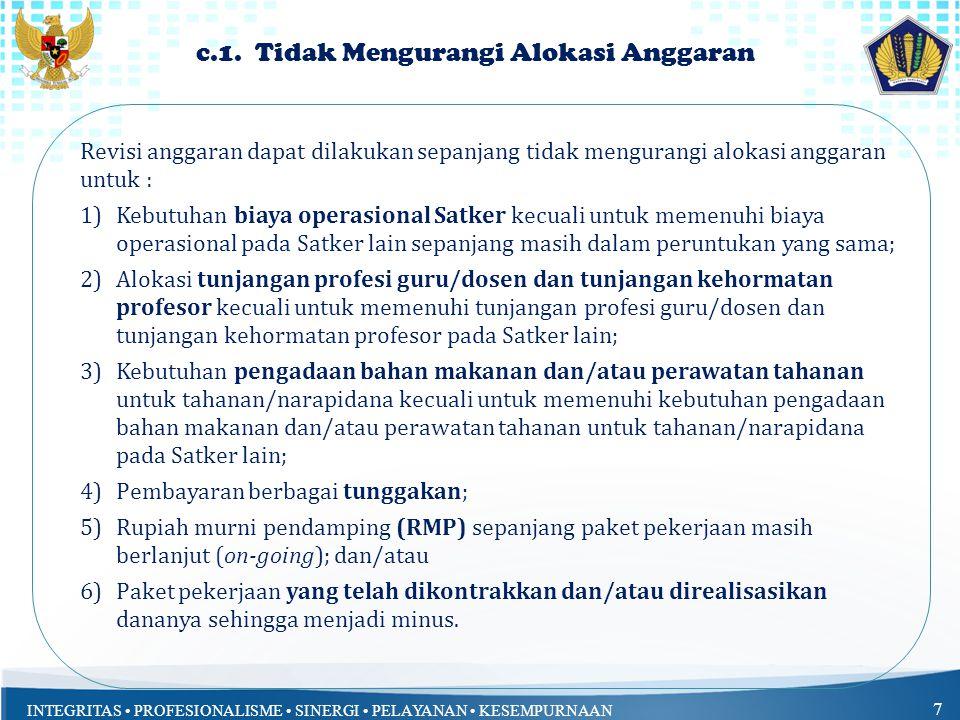 c.1. Tidak Mengurangi Alokasi Anggaran