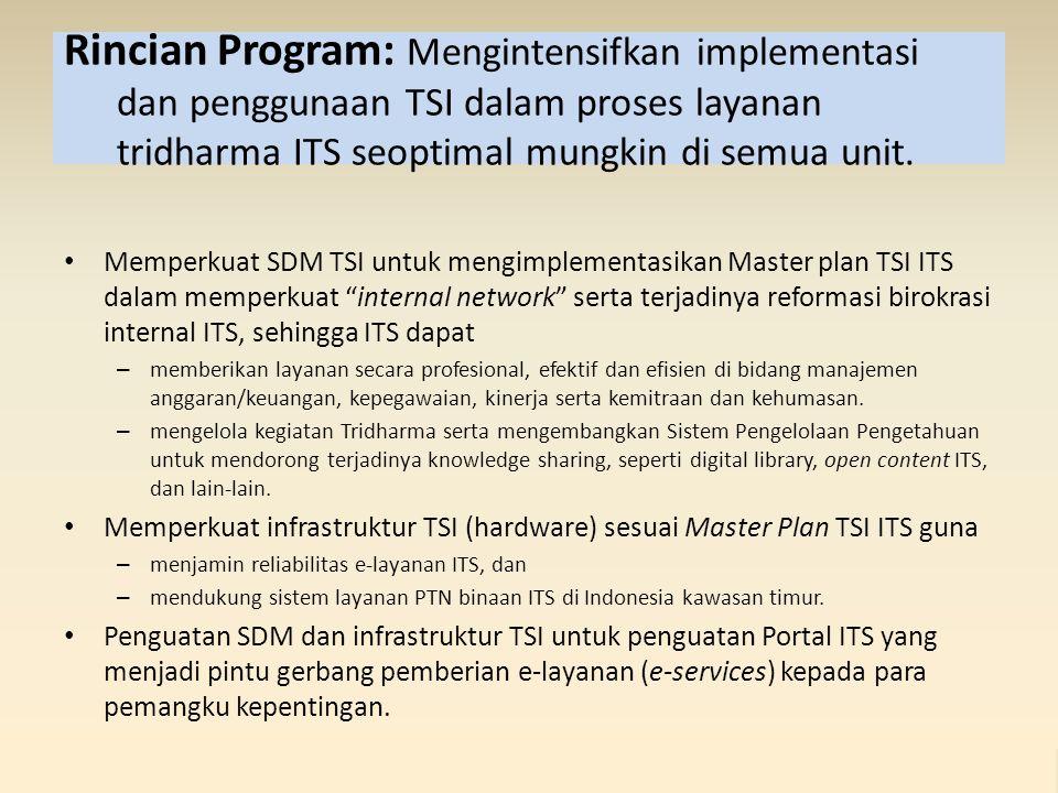 Rincian Program: Mengintensifkan implementasi dan penggunaan TSI dalam proses layanan tridharma ITS seoptimal mungkin di semua unit.