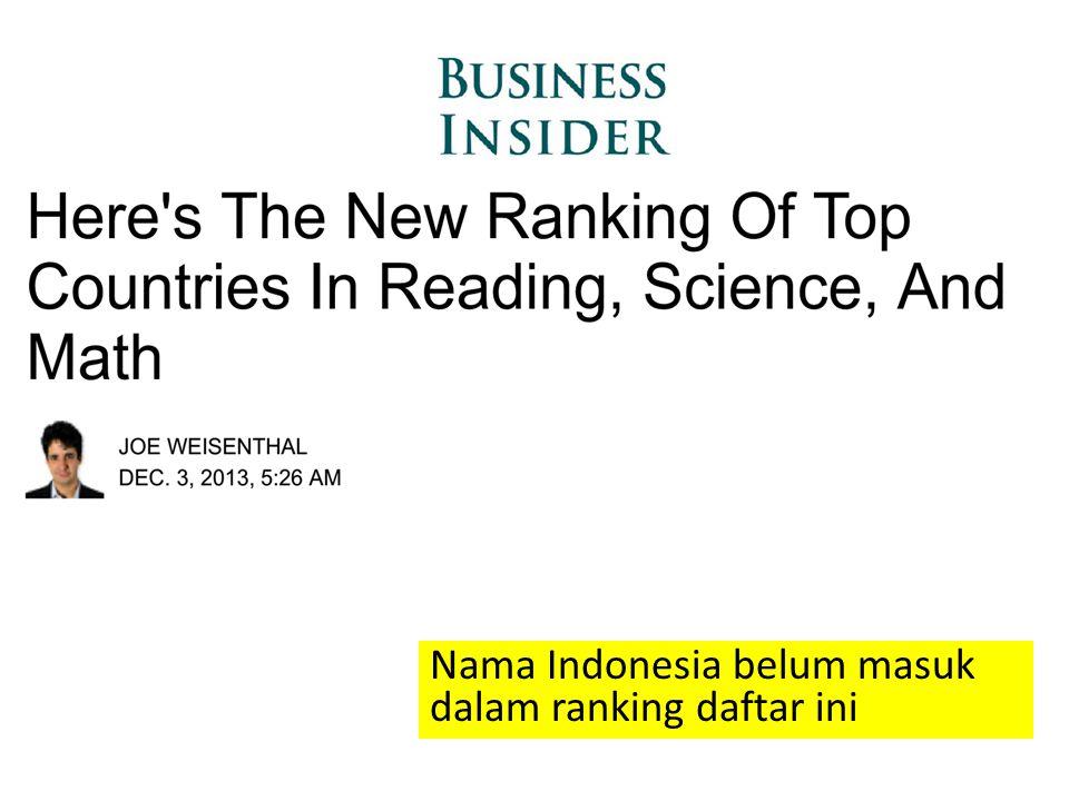 Nama Indonesia belum masuk dalam ranking daftar ini