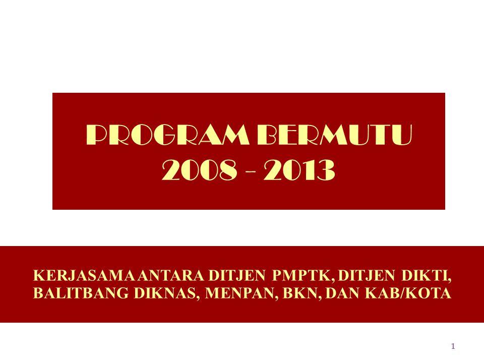 PROGRAM BERMUTU 2008 - 2013 KERJASAMA ANTARA DITJEN PMPTK, DITJEN DIKTI, BALITBANG DIKNAS, MENPAN, BKN, DAN KAB/KOTA.