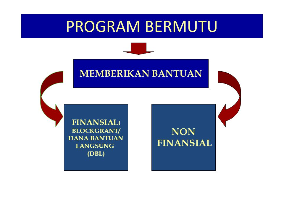 PROGRAM BERMUTU F MEMBERIKAN BANTUAN NON FINANSIAL FINANSIAL: