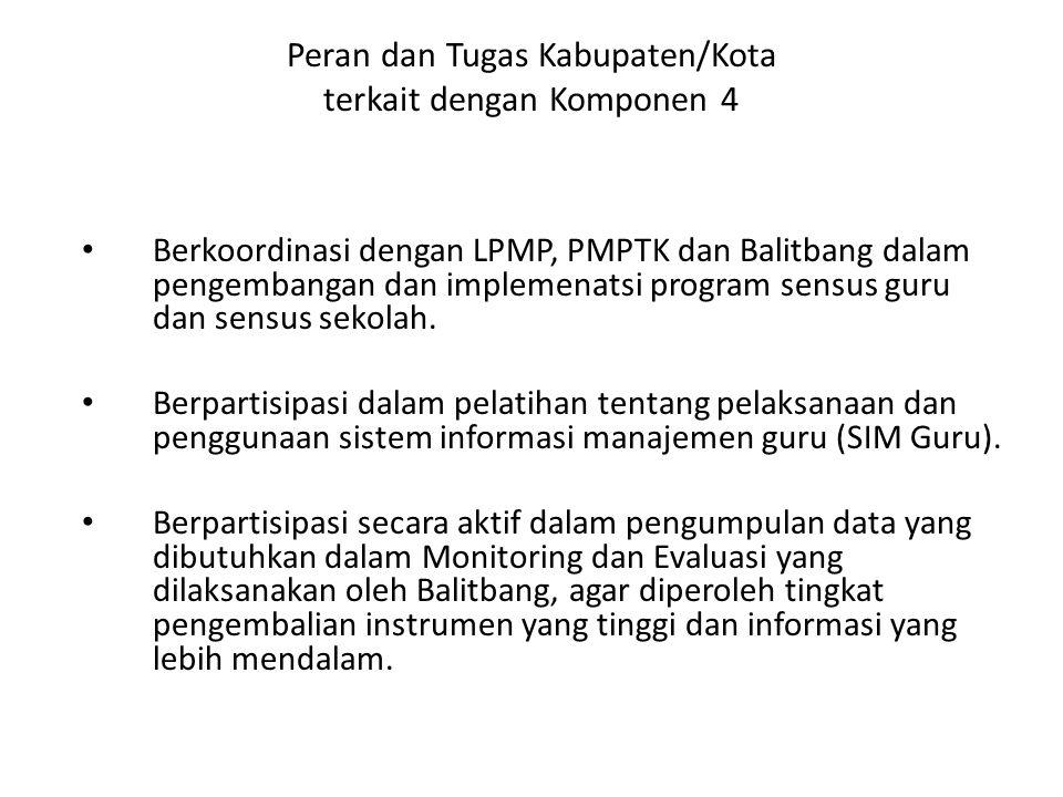 Peran dan Tugas Kabupaten/Kota terkait dengan Komponen 4