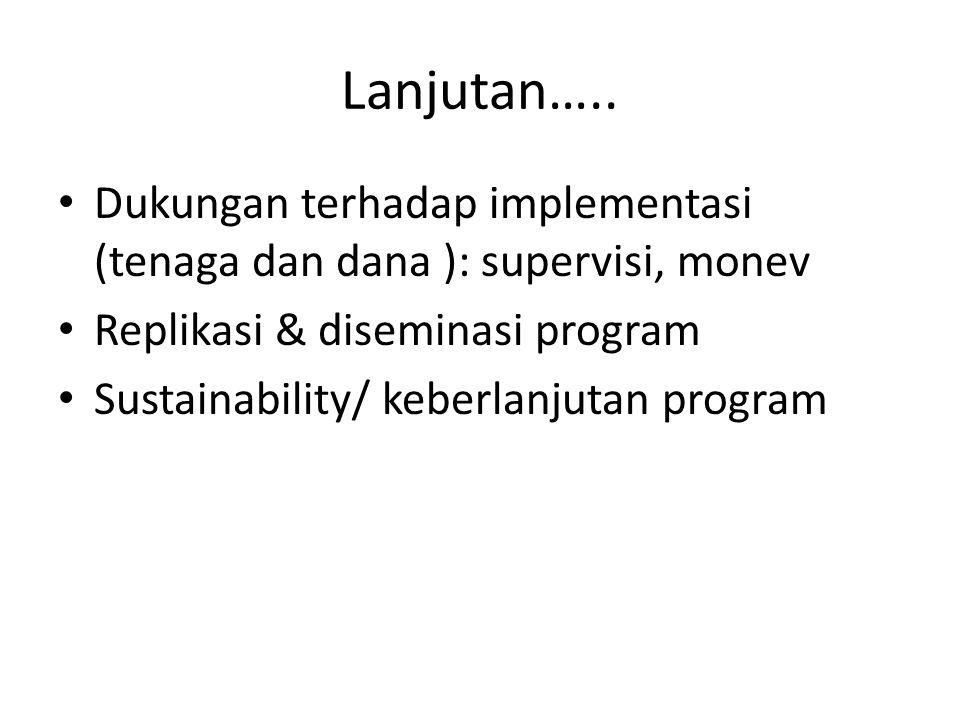 Lanjutan….. Dukungan terhadap implementasi (tenaga dan dana ): supervisi, monev. Replikasi & diseminasi program.