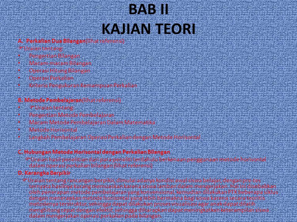 BAB II KAJIAN TEORI A. Perkalian Dua Bilangan(lihat referensi)