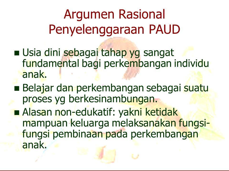 Argumen Rasional Penyelenggaraan PAUD