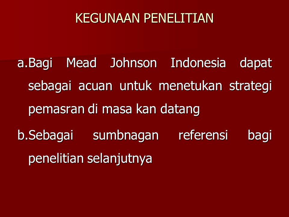 KEGUNAAN PENELITIAN a.Bagi Mead Johnson Indonesia dapat sebagai acuan untuk menetukan strategi pemasran di masa kan datang.