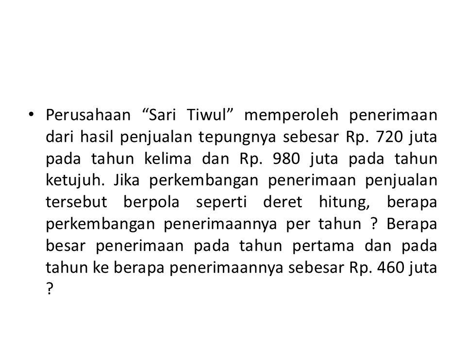 Perusahaan Sari Tiwul memperoleh penerimaan dari hasil penjualan tepungnya sebesar Rp.