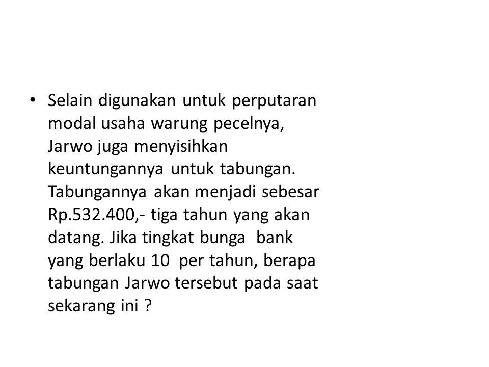 Selain digunakan untuk perputaran modal usaha warung pecelnya, Jarwo juga menyisihkan keuntungannya untuk tabungan.