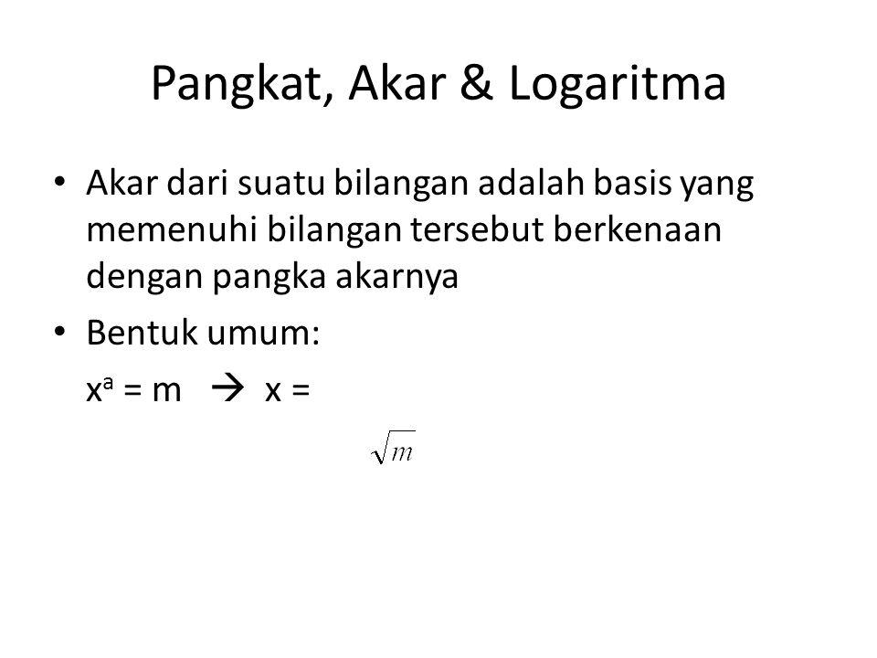 Pangkat, Akar & Logaritma