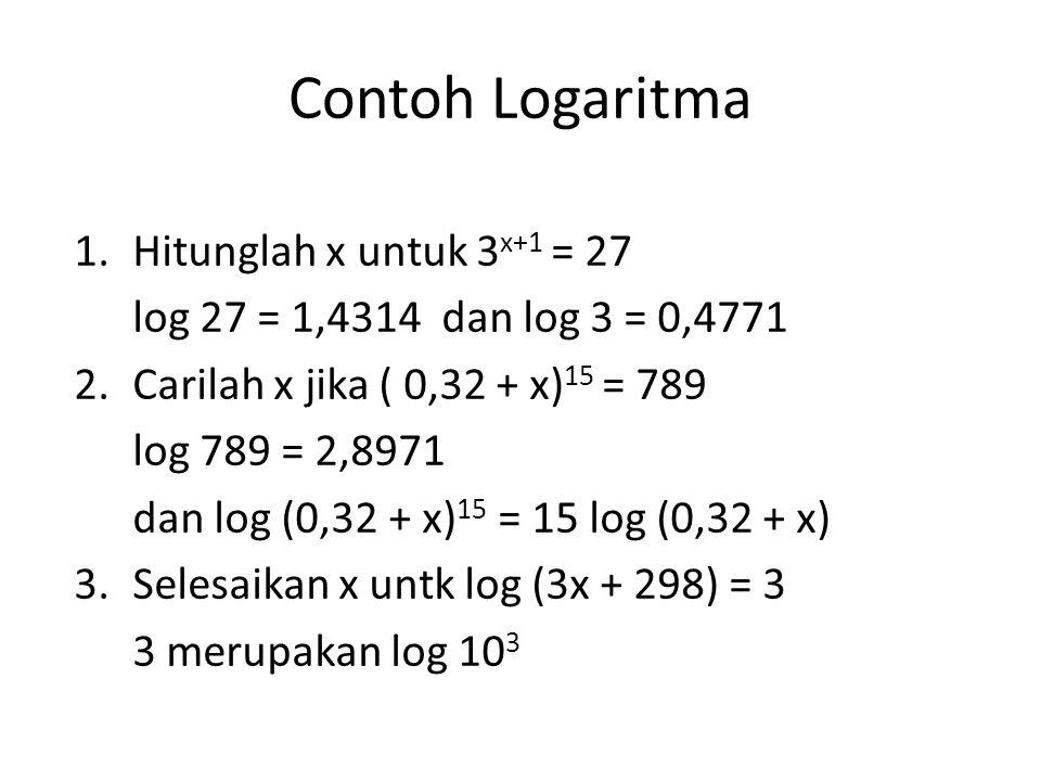 Contoh Logaritma Hitunglah x untuk 3x+1 = 27