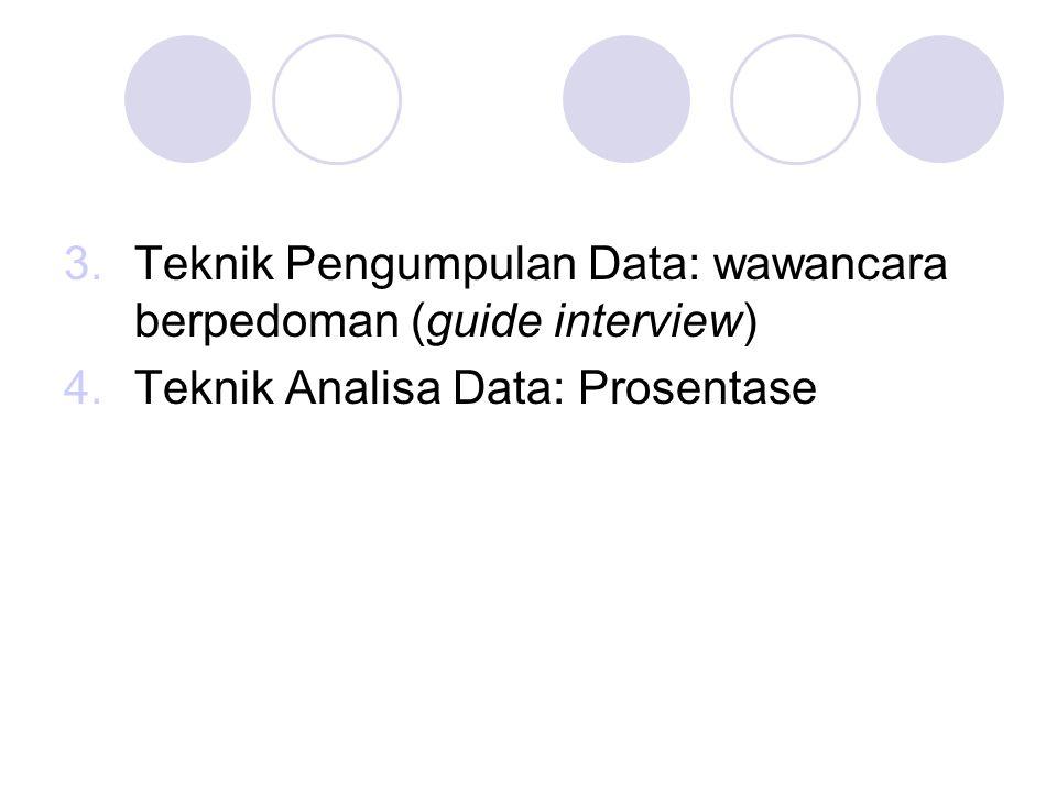 Teknik Pengumpulan Data: wawancara berpedoman (guide interview)