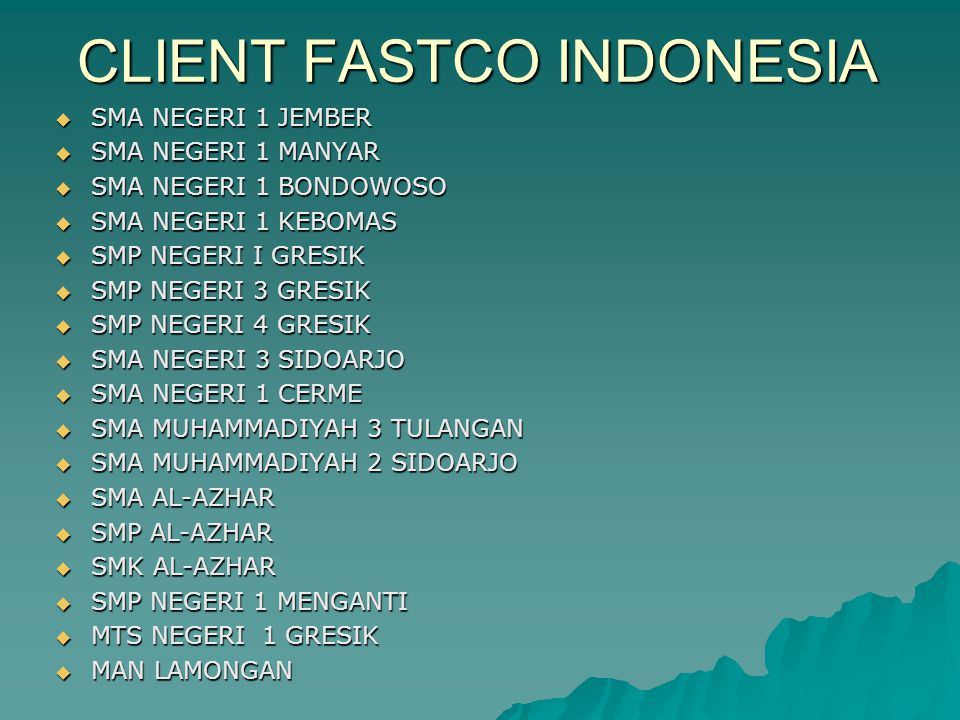 CLIENT FASTCO INDONESIA