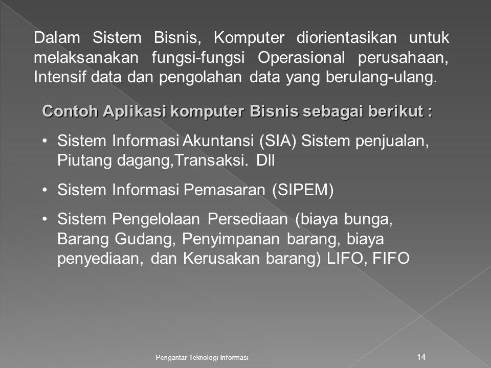Contoh Aplikasi komputer Bisnis sebagai berikut :