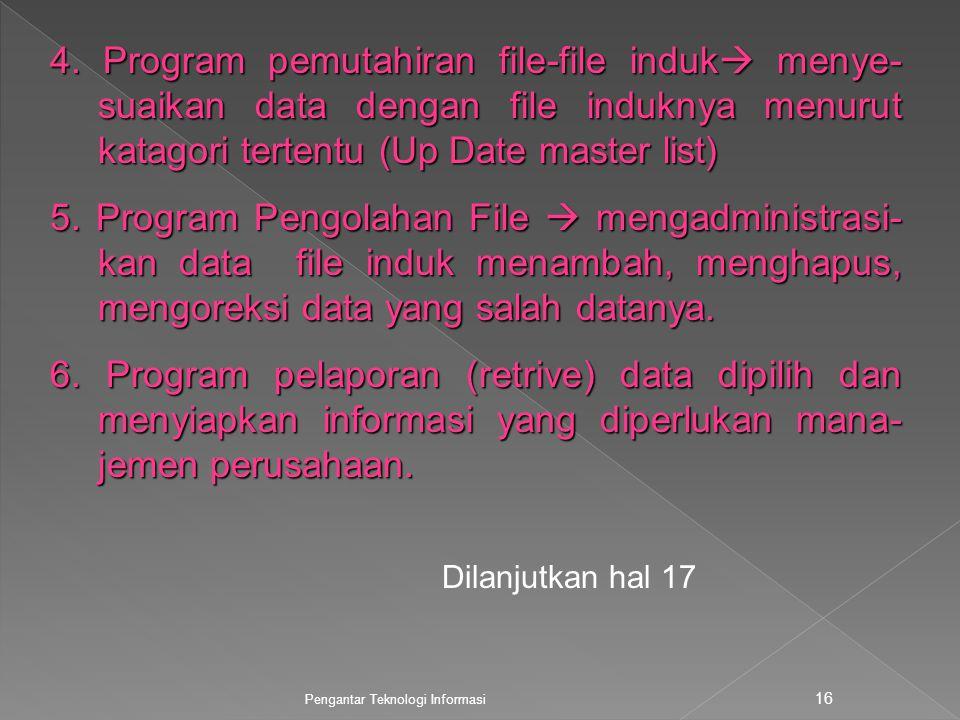4. Program pemutahiran file-file induk menye-suaikan data dengan file induknya menurut katagori tertentu (Up Date master list)
