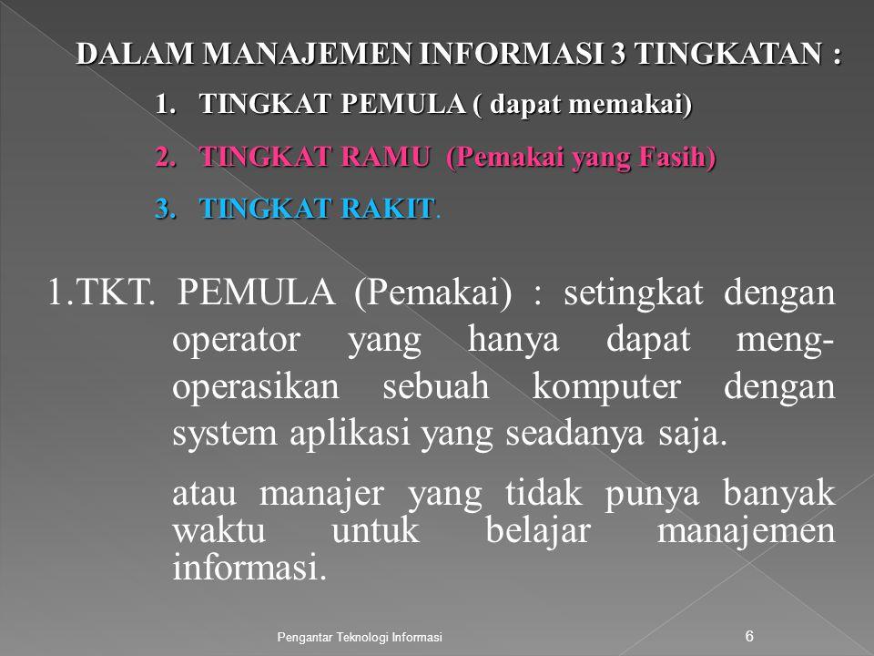 DALAM MANAJEMEN INFORMASI 3 TINGKATAN :