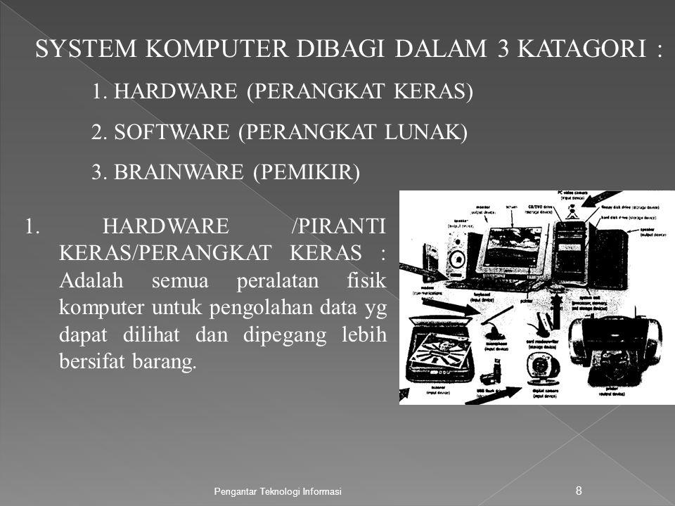 SYSTEM KOMPUTER DIBAGI DALAM 3 KATAGORI :