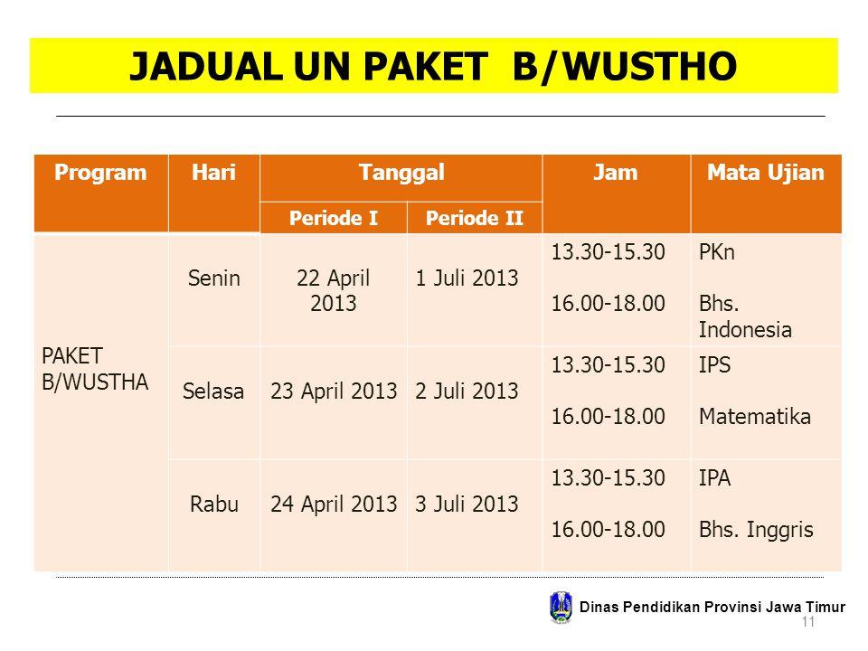 JADUAL UN PAKET B/WUSTHO