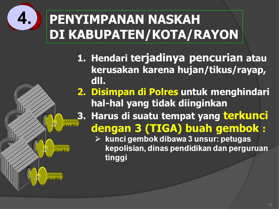 4. PENYIMPANAN NASKAH DI KABUPATEN/KOTA/RAYON