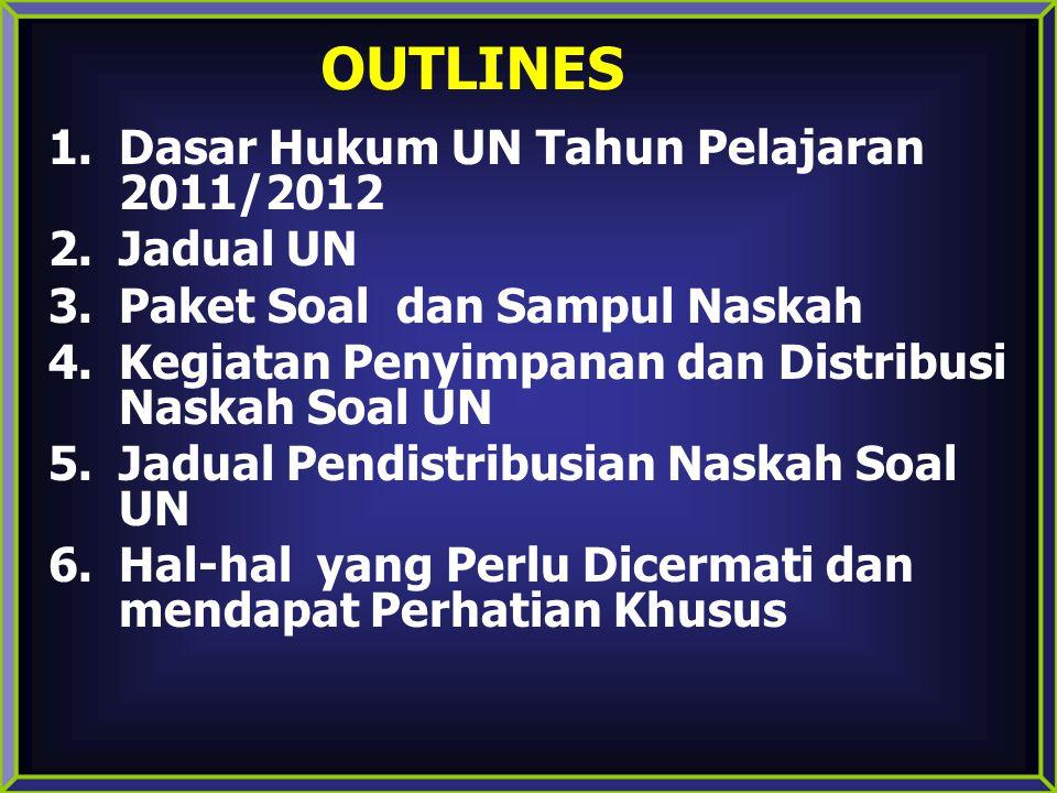 OUTLINES Dasar Hukum UN Tahun Pelajaran 2011/2012 Jadual UN