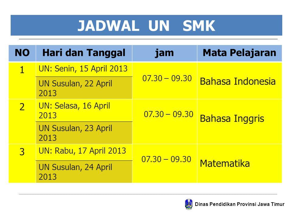 JADWAL UN SMK NO Hari dan Tanggal jam Mata Pelajaran 1