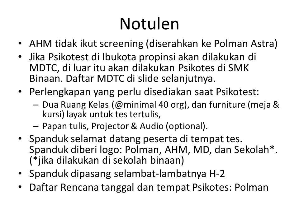 Notulen AHM tidak ikut screening (diserahkan ke Polman Astra)