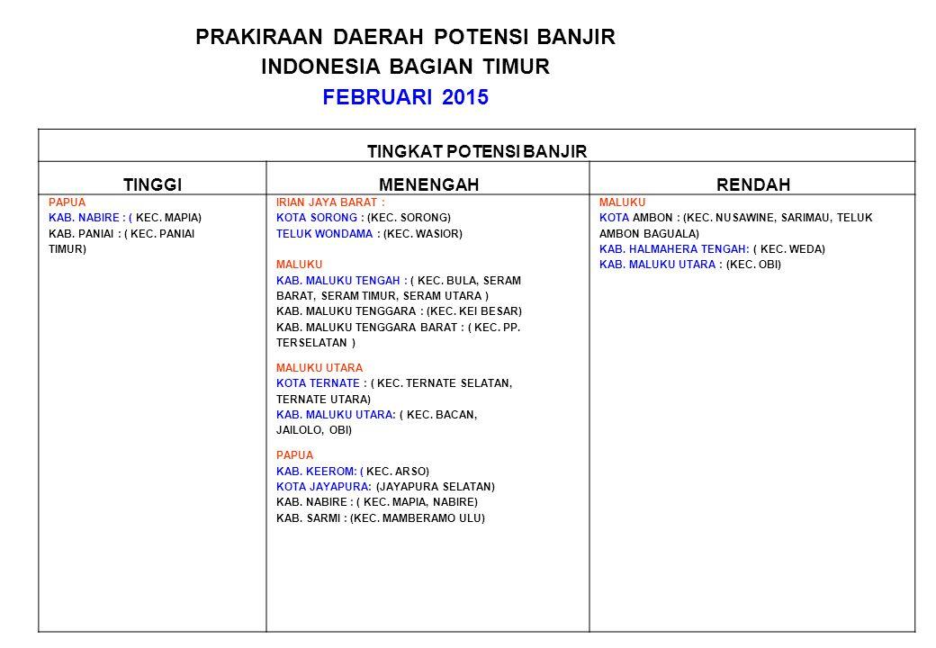 PRAKIRAAN DAERAH POTENSI BANJIR INDONESIA BAGIAN TIMUR FEBRUARI 2015