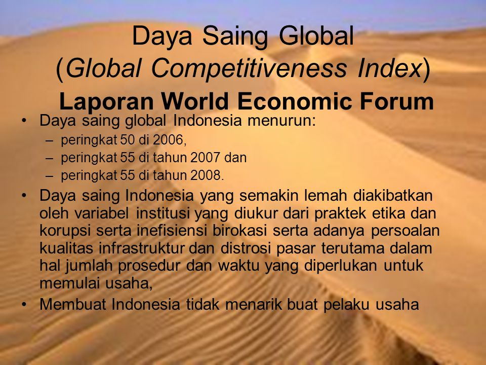 Daya Saing Global (Global Competitiveness Index) Laporan World Economic Forum