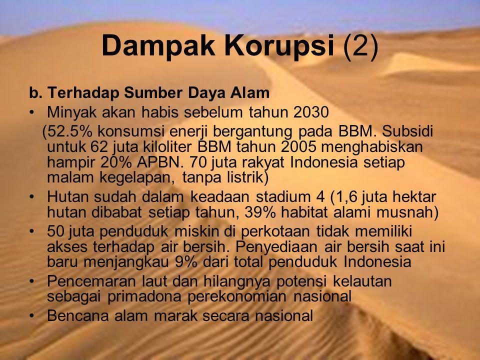 Dampak Korupsi (2) b. Terhadap Sumber Daya Alam