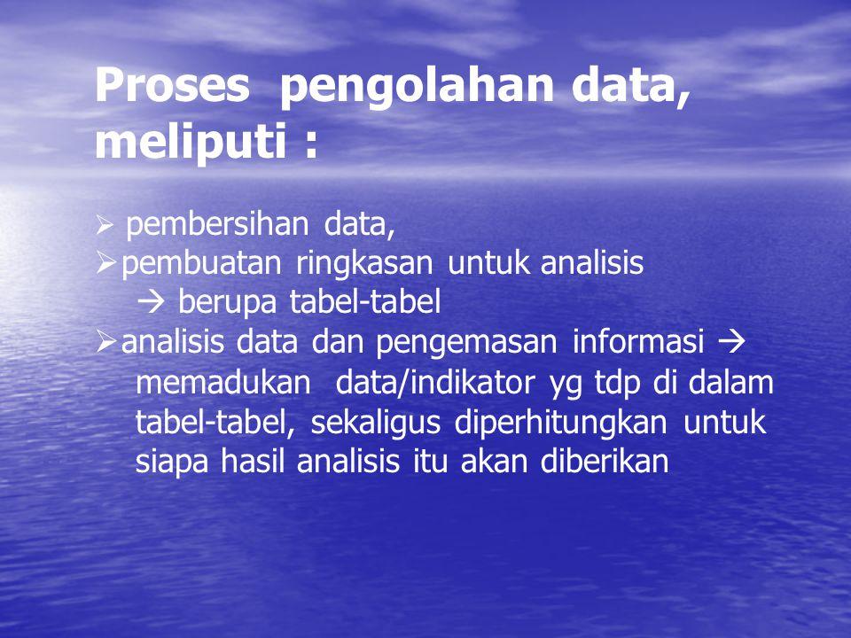 Proses pengolahan data, meliputi :