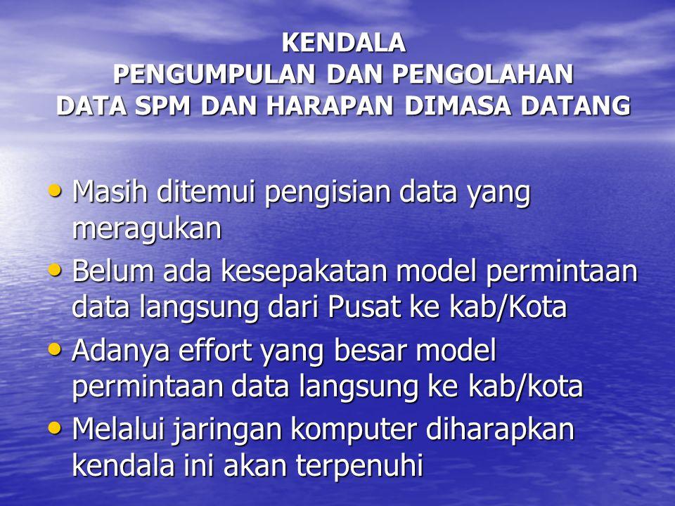 KENDALA PENGUMPULAN DAN PENGOLAHAN DATA SPM DAN HARAPAN DIMASA DATANG