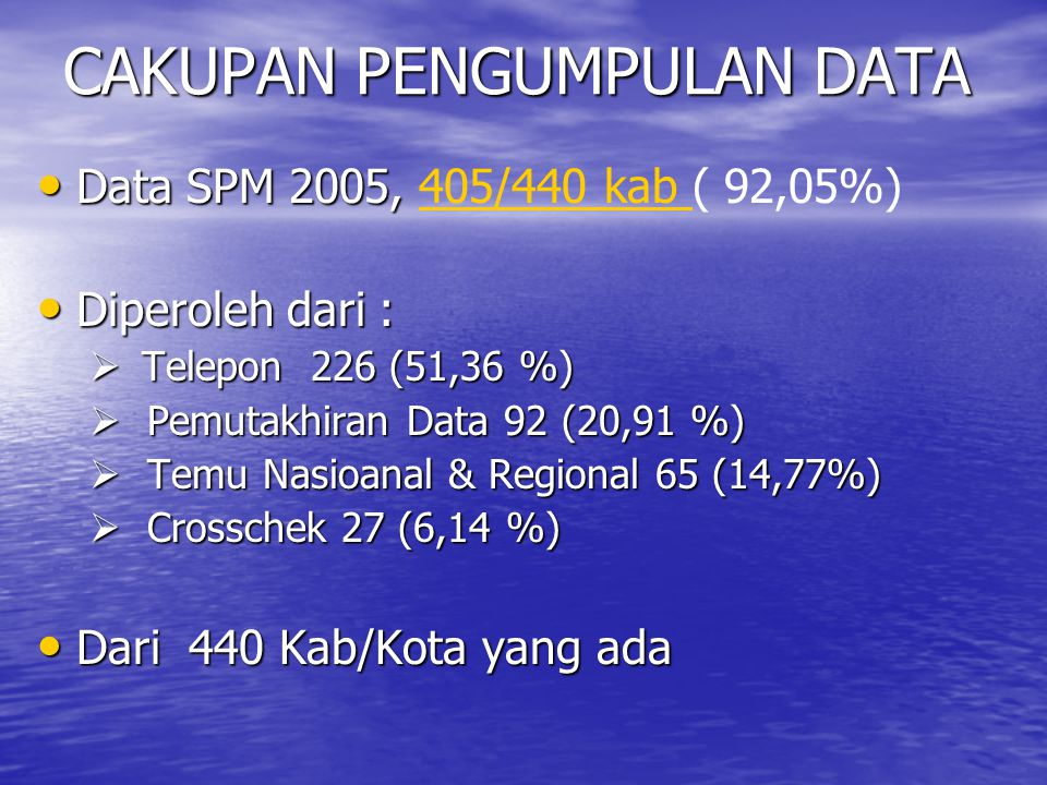 CAKUPAN PENGUMPULAN DATA