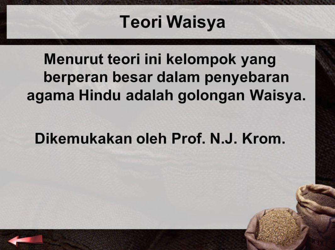 Dikemukakan oleh Prof. N.J. Krom.