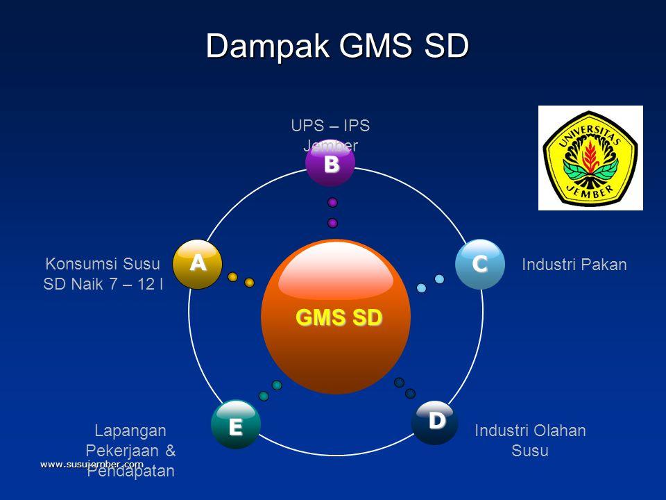 Dampak GMS SD B A C GMS SD D E Konsumsi Susu SD Naik 7 – 12 l