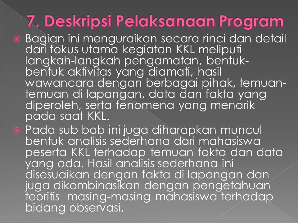 7. Deskripsi Pelaksanaan Program