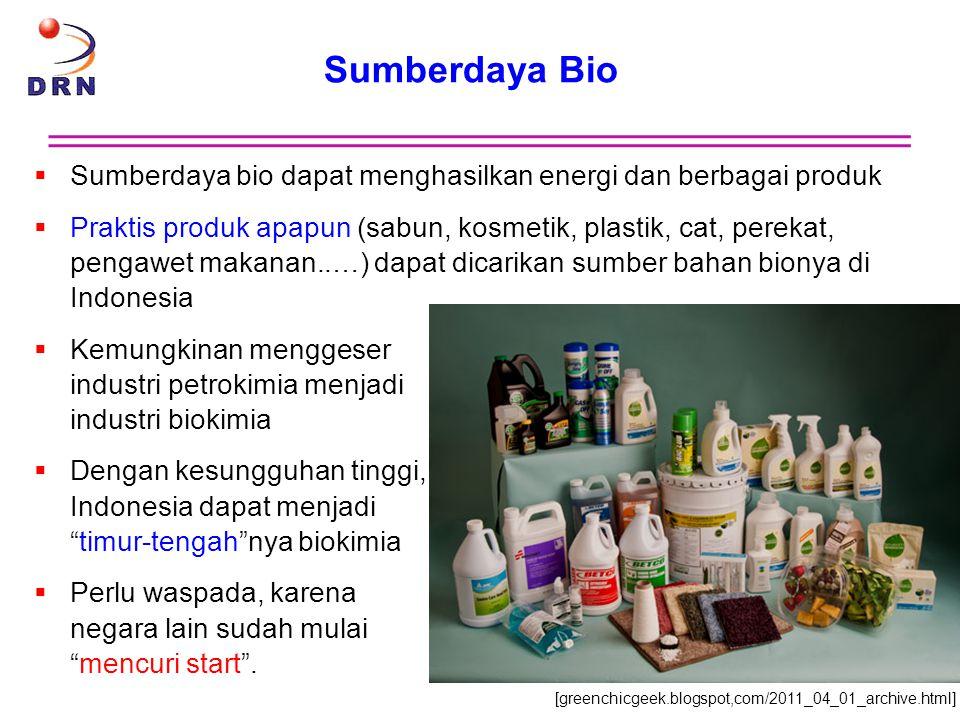 Sumberdaya Bio Sumberdaya bio dapat menghasilkan energi dan berbagai produk.
