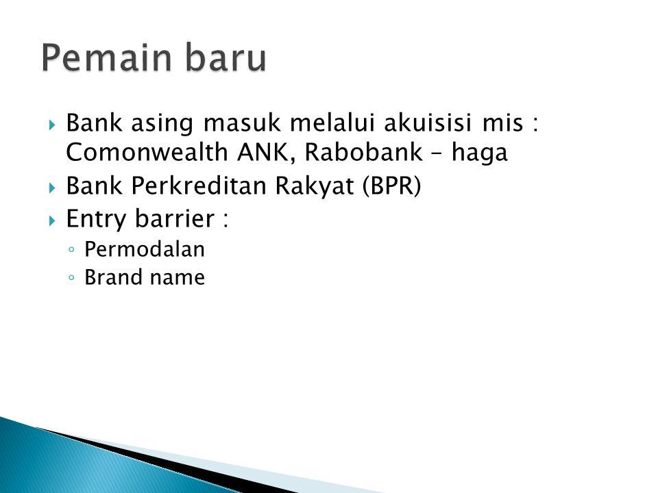 Pemain baru Bank asing masuk melalui akuisisi mis : Comonwealth ANK, Rabobank – haga. Bank Perkreditan Rakyat (BPR)