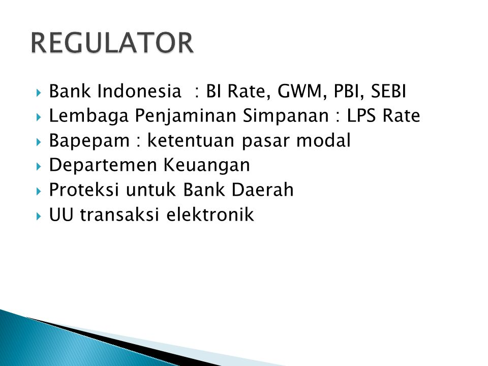 REGULATOR Bank Indonesia : BI Rate, GWM, PBI, SEBI