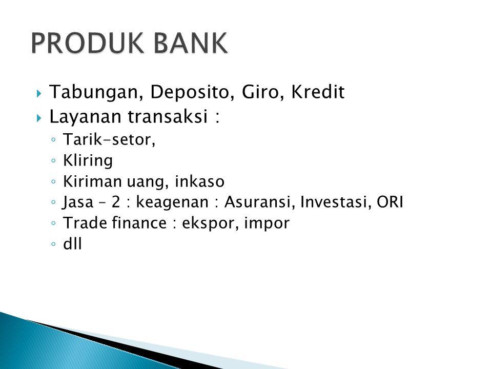 PRODUK BANK Tabungan, Deposito, Giro, Kredit Layanan transaksi :