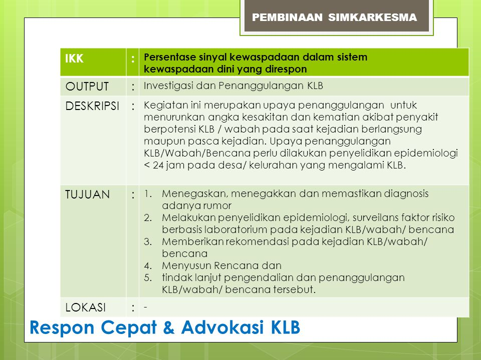 Respon Cepat & Advokasi KLB