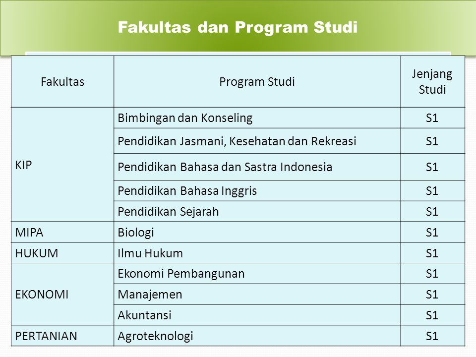 Fakultas dan Program Studi