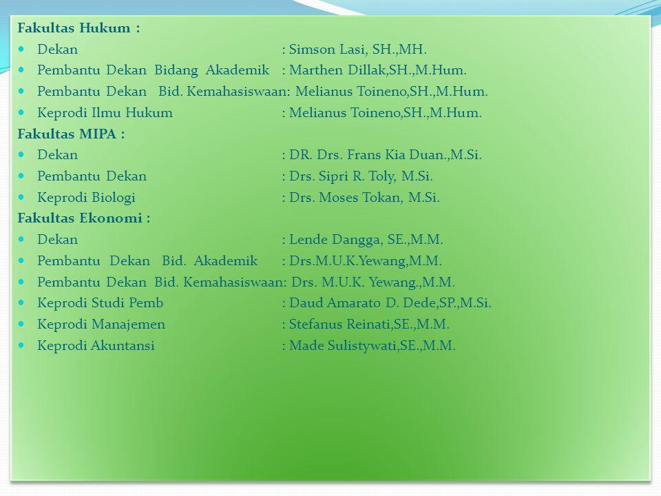 Fakultas Hukum : Dekan : Simson Lasi, SH.,MH. Pembantu Dekan Bidang Akademik : Marthen Dillak,SH.,M.Hum.