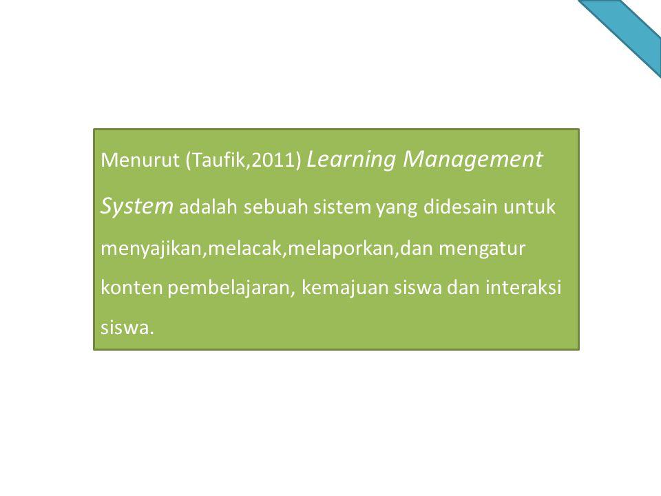 Menurut (Taufik,2011) Learning Management System adalah sebuah sistem yang didesain untuk menyajikan,melacak,melaporkan,dan mengatur konten pembelajaran, kemajuan siswa dan interaksi siswa.