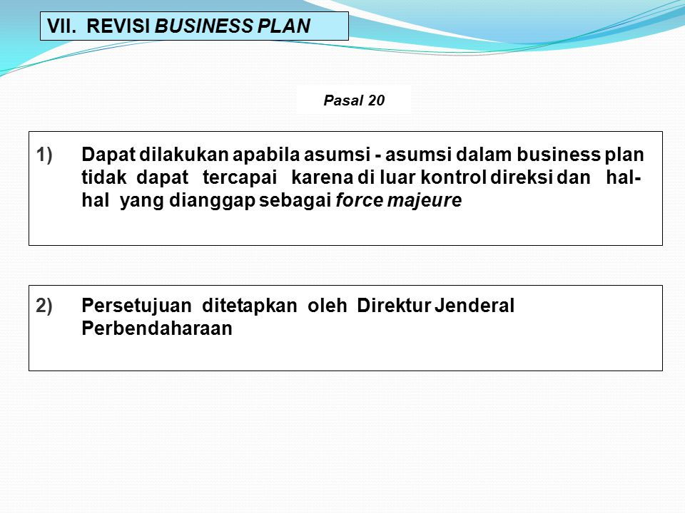 VII. REVISI BUSINESS PLAN